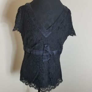Talbots Black Lace Blouse With Short Sleeves